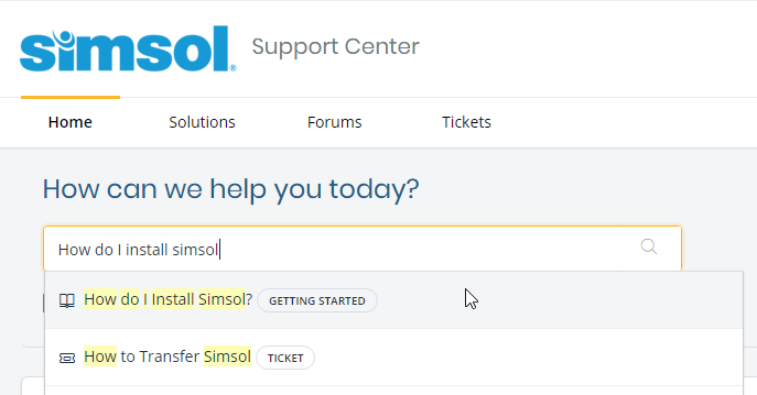simsol-support-center-search